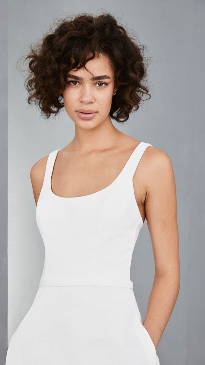 Scoop tank neck short white dress by Amsale