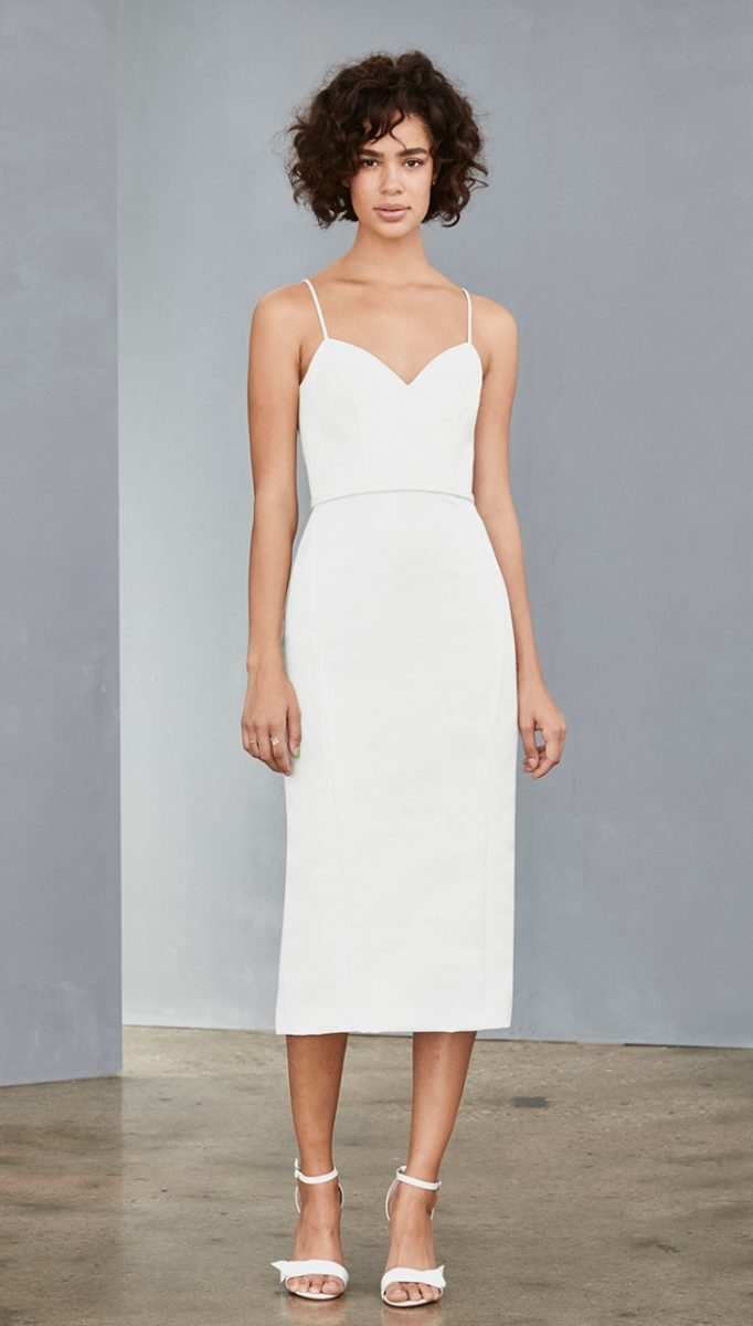 Amsale white sheath dress with thin straps for a bride to be