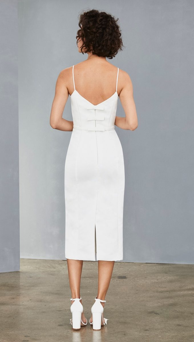 Bow back short white spaghetti strap dress