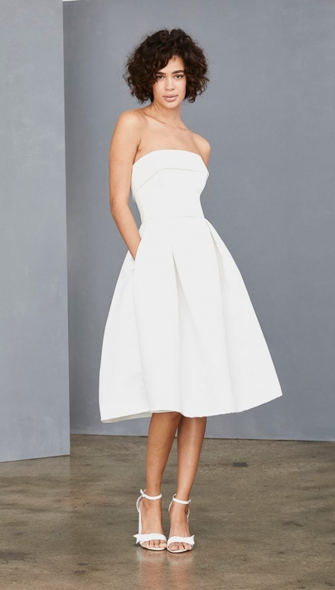 Strapless white short fit and flare dress | Amsale
