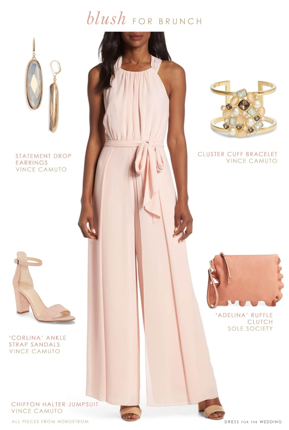 Blush pink dressy chiffon jumpsuit for spring weddings and events