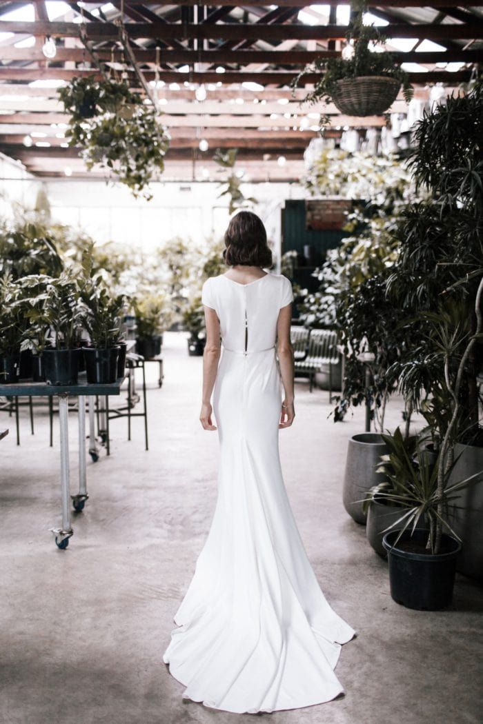 Simple modern wedding dress with short sleeve and train | Clarissa