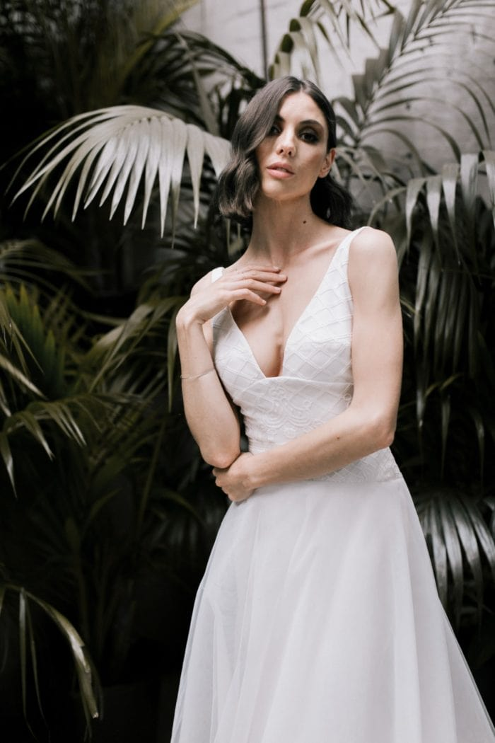 Deep neckline A line wedding dress