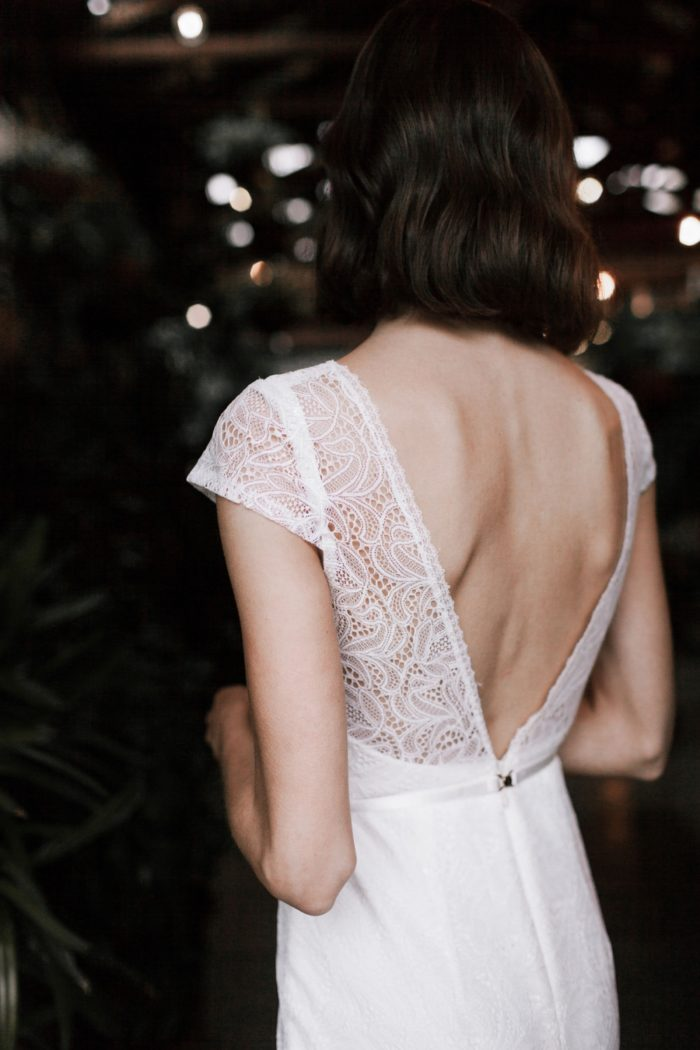 Cap sleeve lace wedding dress