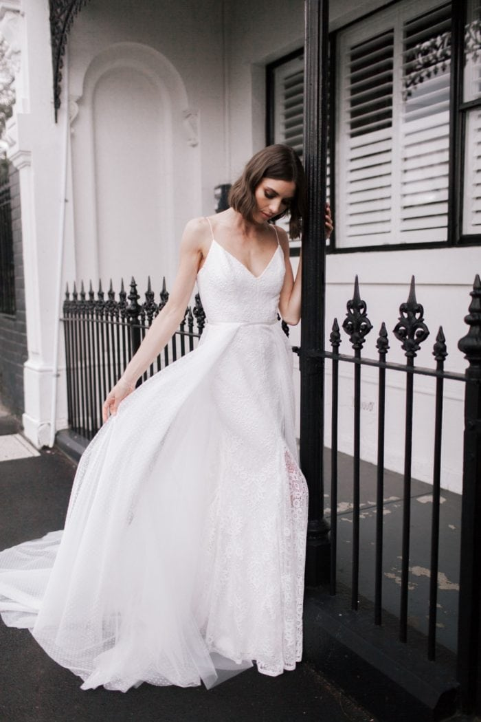 Karen Willis Holmes wedding dresses | Justine gown with Alice train and overskirt