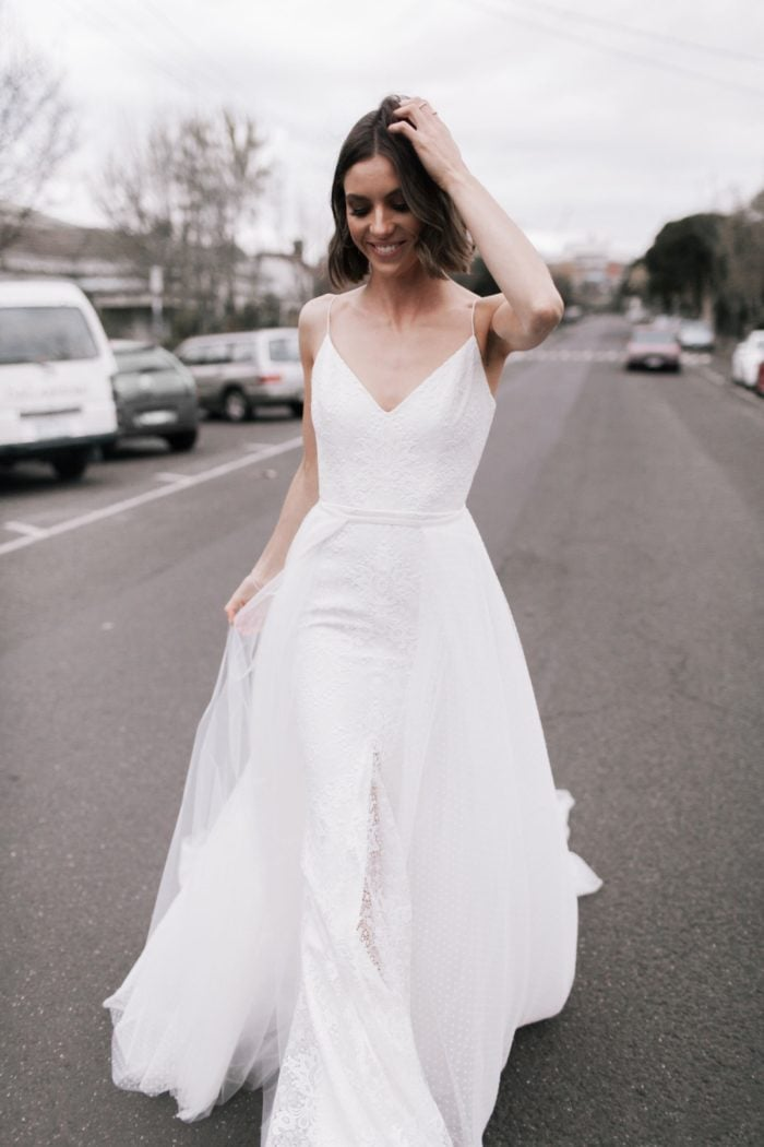 Justine gown with overskirt