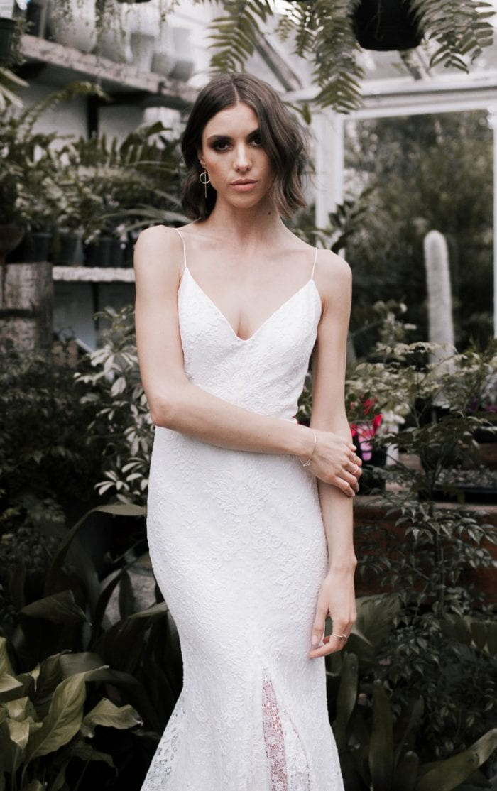 Wild Hearts spaghetti strap wedding dress.