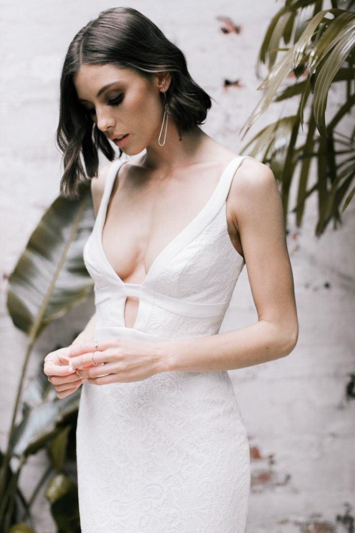 Sexy low cut boho wedding dress
