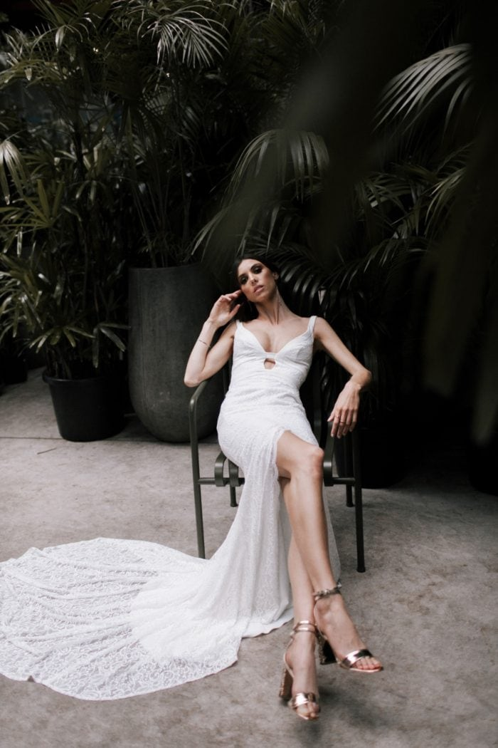 Boho low cut wedding dress Kendall gown Karen Willis Holmes