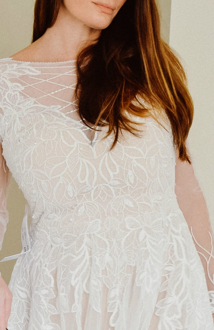 Lace detail on bodice Azazie Elvina wedding dress with long sleeves under 400