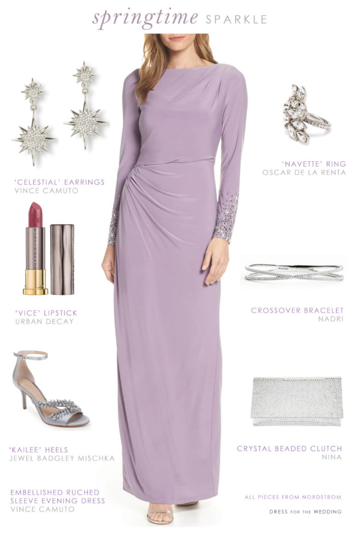Long sleeve spring Mother of the Bride outfit with lavender purple dress