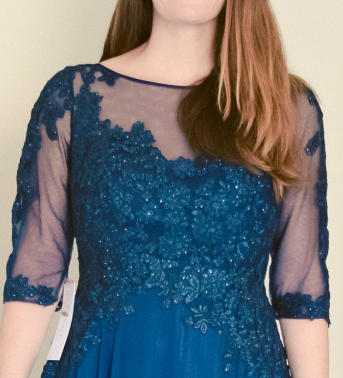 navy blue 3/4 sleeve MOB dress with floral applique neckline