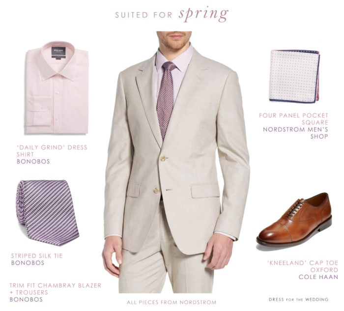 Men's tan suit for spring events and weddings