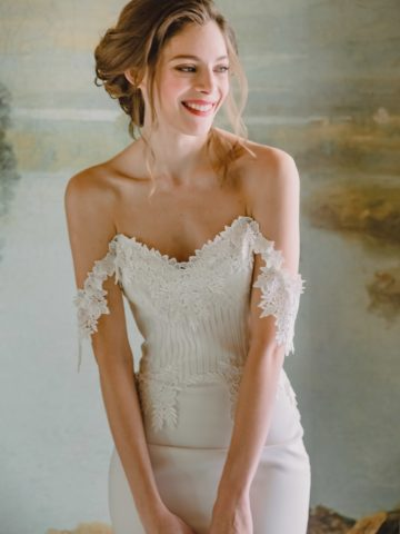 Detail of Arabella gown by Claire Pettibone