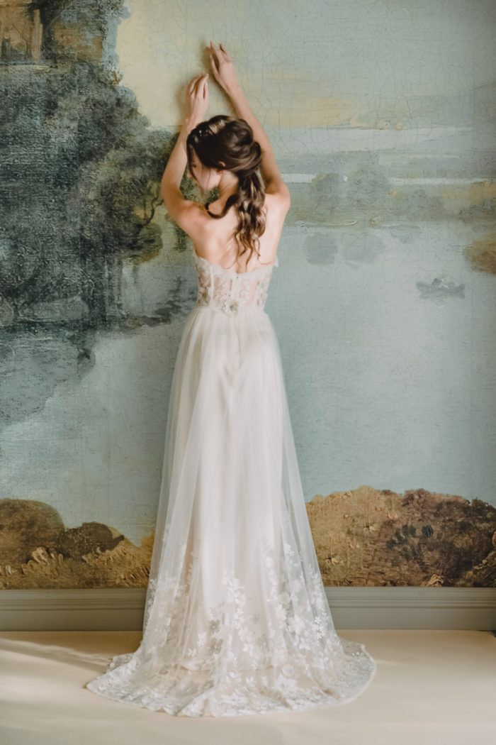 Back detail of Lucinda gown by Claire Pettibone