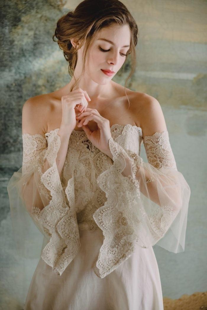 Romantic bell sleeve wedding dress