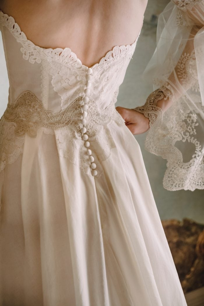 Button detail on Marie bridal gown Claire Pettibone