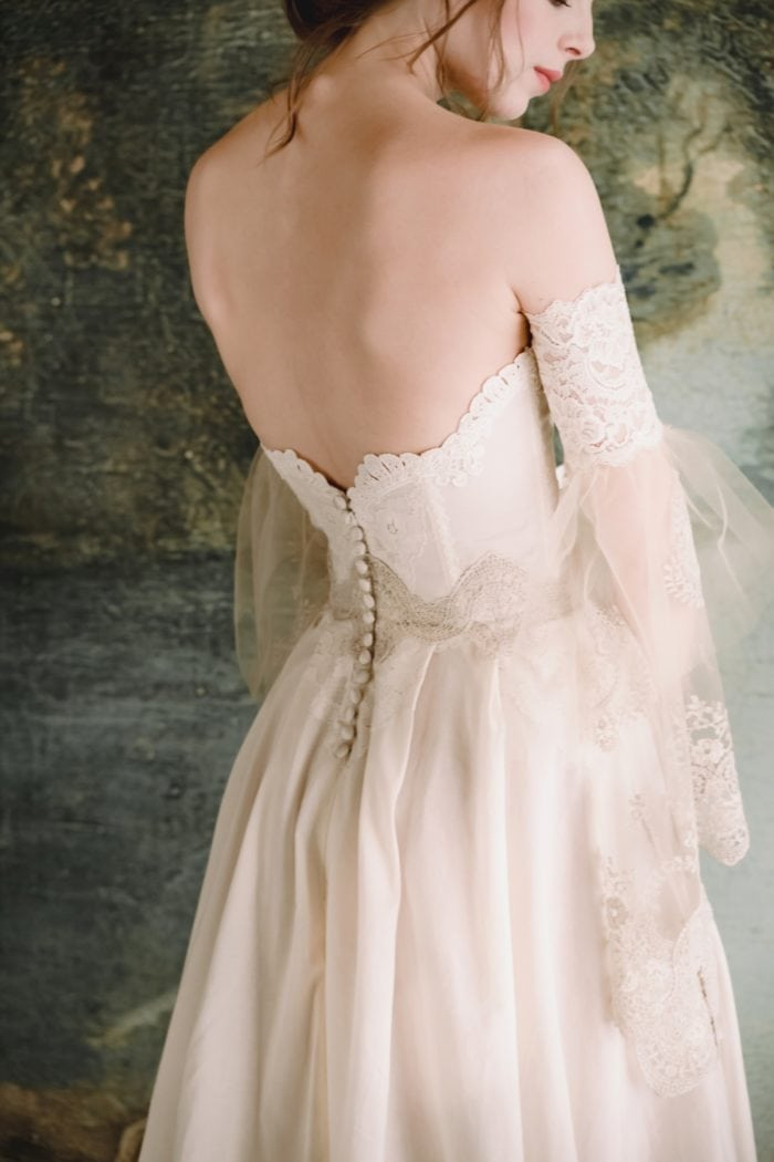 Timeless collection. Button detail on Marie bridal gown Claire Pettibone