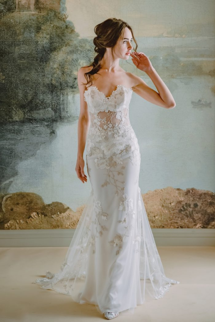 Odessa bridal gown | Sheer floral strapless wedding dress
