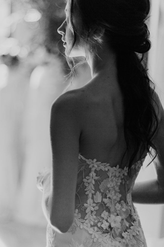 Sheer lace back wedding dress by Claire Pettibone Odessa gown