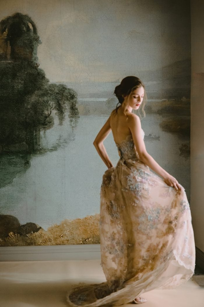 Rose gold wedding dress with floral details Ophelia bridal gown