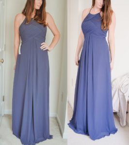 Try on affordable bridesmaid dress from Azazie Ginger in Stormy