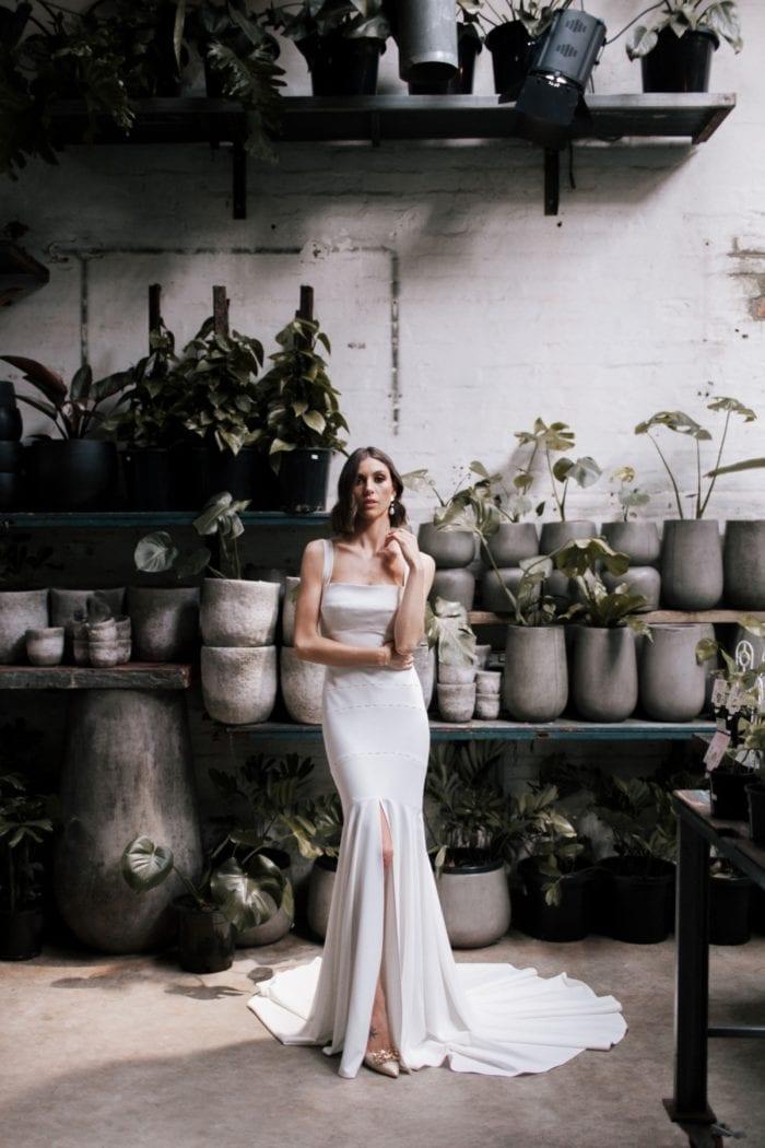 Wide strap wedding gown Violet Karen Willis Holmes