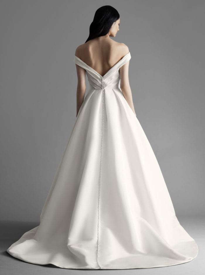 Ava wedding dress. Back detail off the shoulder wedding dress by Allison Webb