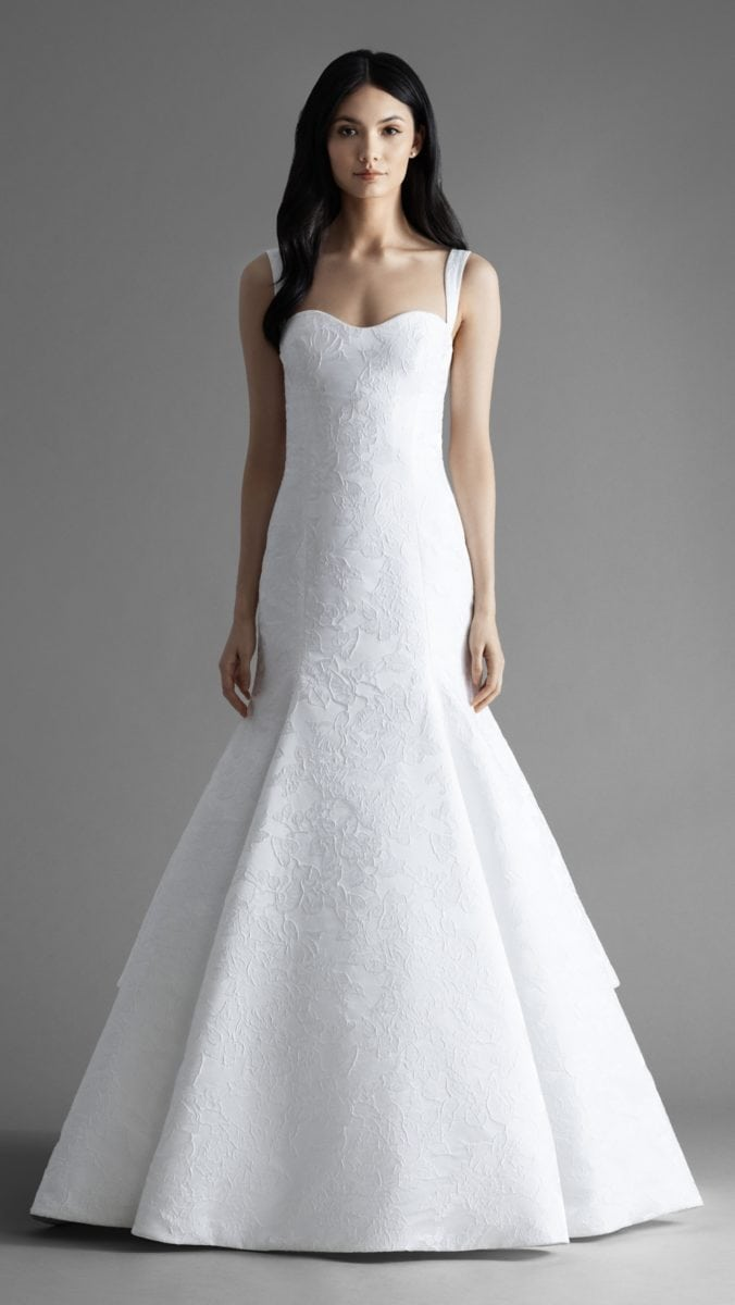 Ellis is Fit to flare wedding dress with straps