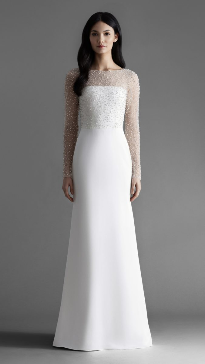 Alexa long sleeve embellished wedding dress by Allison Webb
