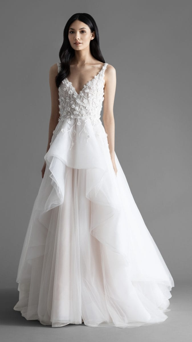 Chadwick A-line V neck wedding dress by Allison Webb
