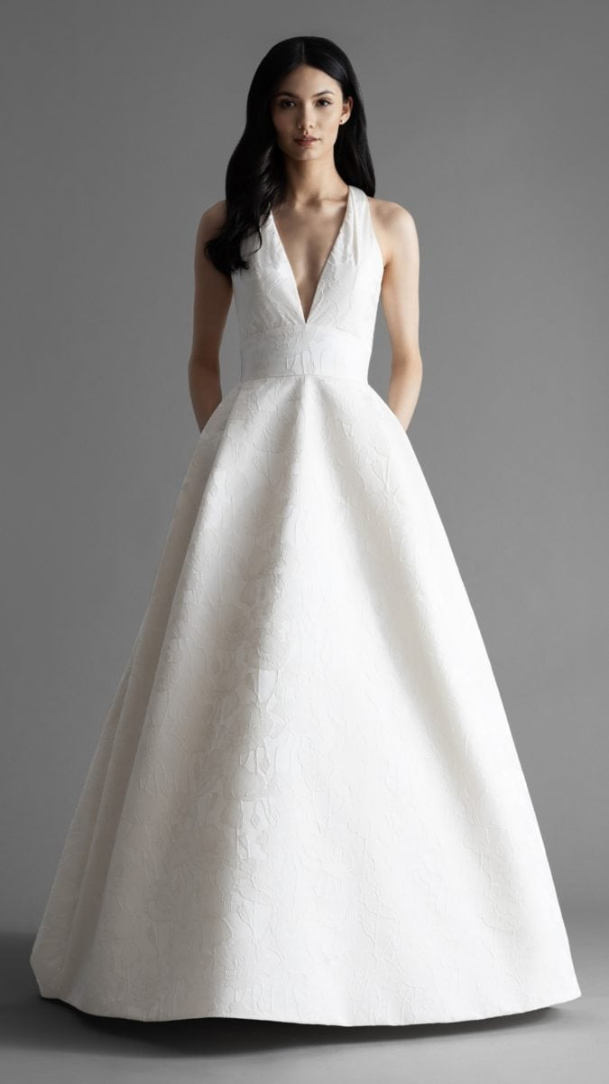 Rose wedding dress with pockets by Allison Webb Spring 2019 A line wedding dress
