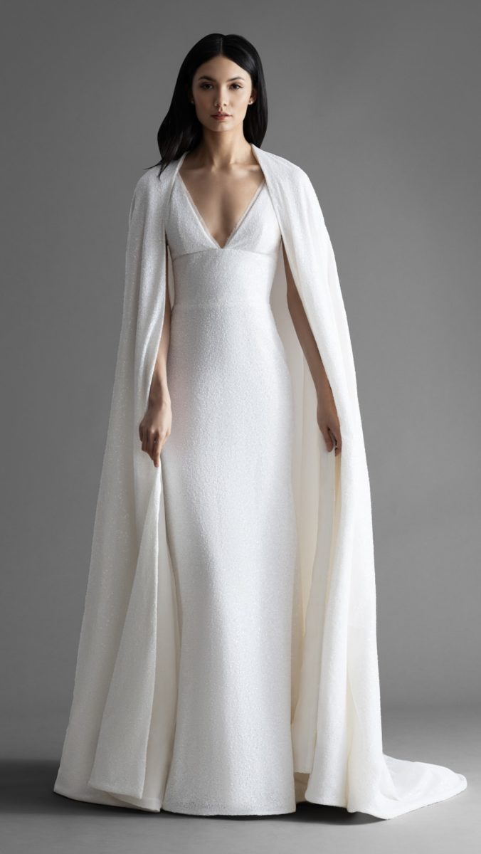 White sequin wedding dress with cape