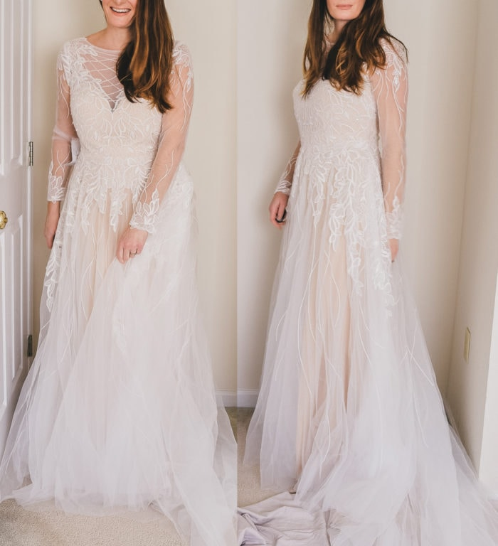 Review of long sleeve wedding dress under $400