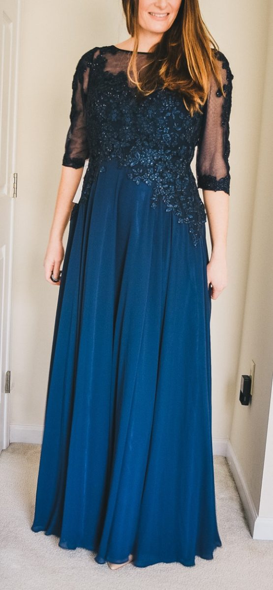 affordable navy blue mother of the bride dress with sleeves and beaded neckline