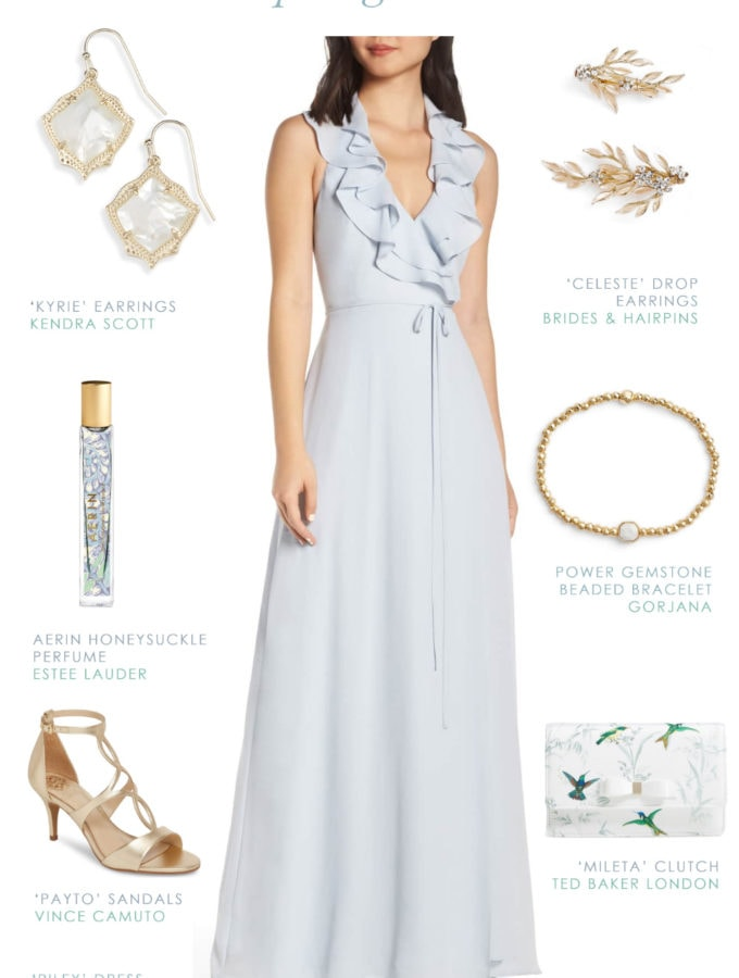 Light blue maxi dress for bridesmaids or wedding guests