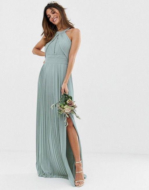 Seaglass sage grene pleated maxi dress for bridesmaids