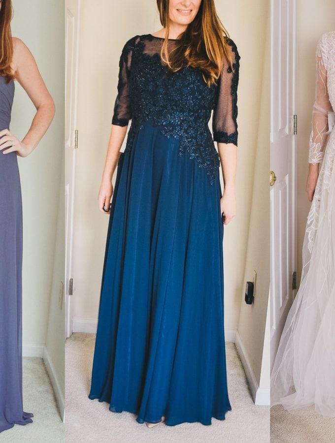 Trying on Bridesmaid Dresses and Wedding Dresses from Azazie