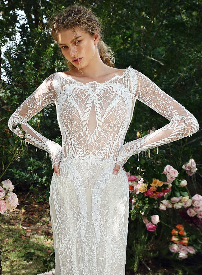 Detailed lace long sleeve designer wedding dress