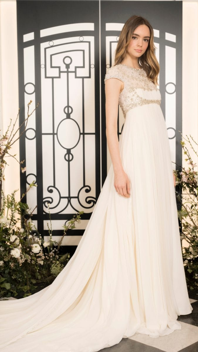 Empire waist beaded bodice wedding dress by Jenny Packham