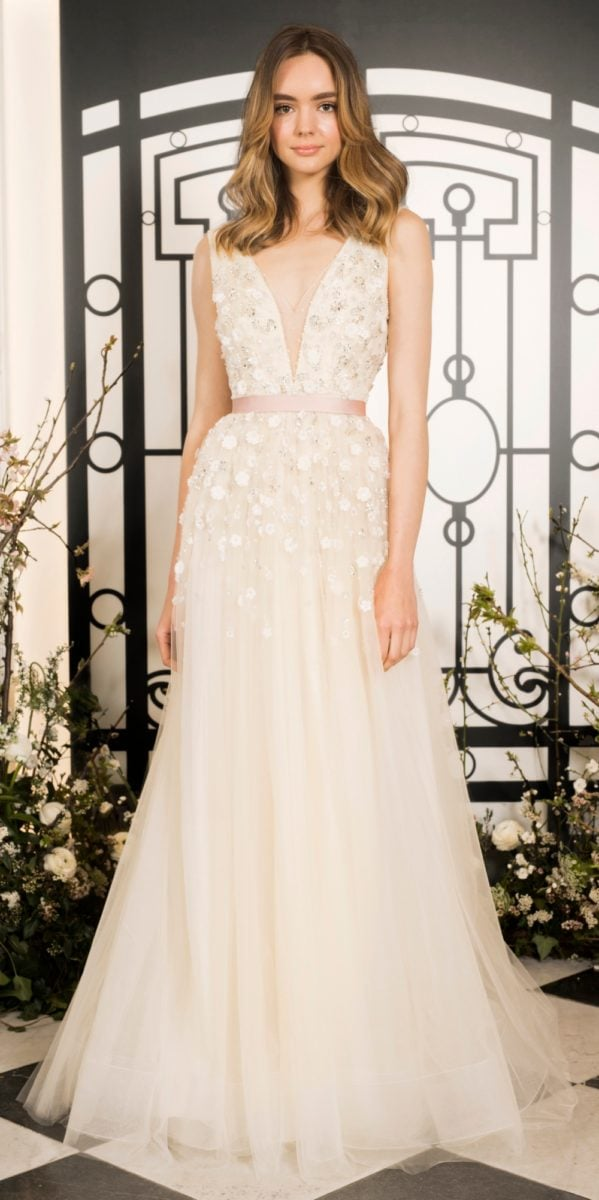 Colette gown, a floral bridal gown with deep v neckline by Jenny Packham