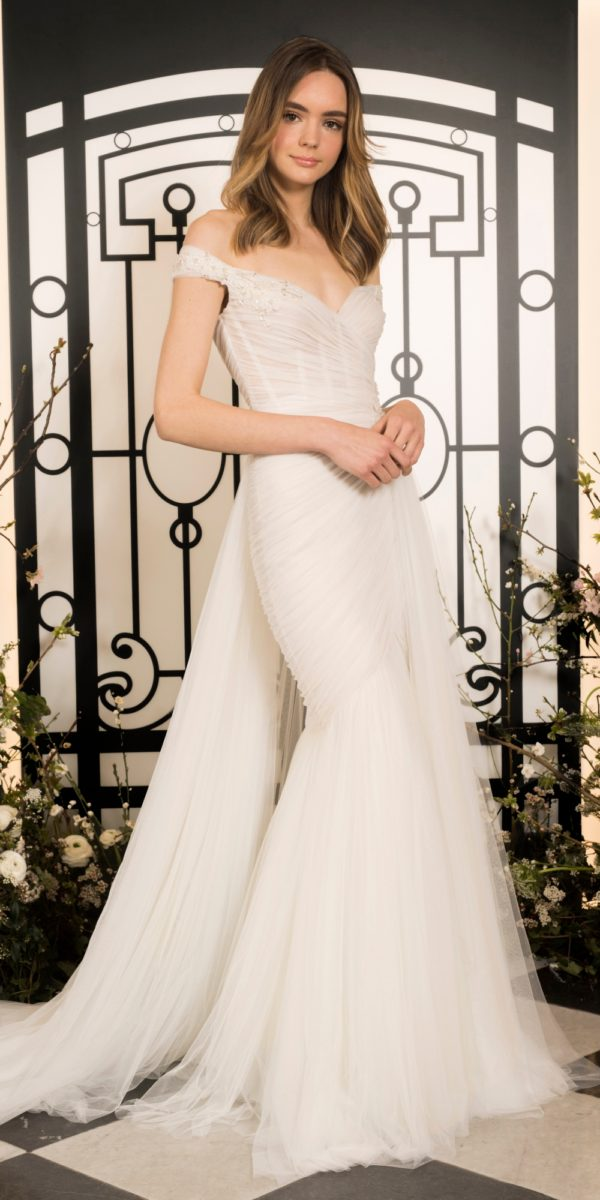 Off the shoulder pleated tulle fitted wedding dress | Elysee by Jenny Packham