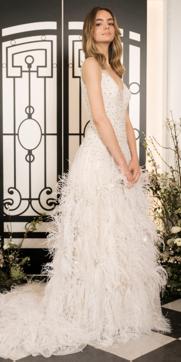 Etoile by Jenny Packham | Beaded wedding dress with ostrich feather skirt