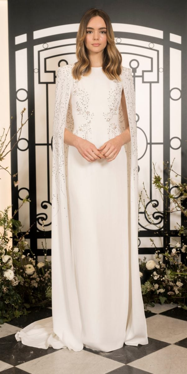 Farrah by Jenny Packham | Embellished ivory sheath wedding gown with cape