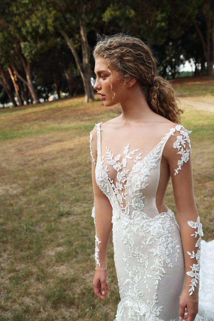 G206 Gala Galia Lahav Embroidered tulle long sleeve bridal gown with sheer sides