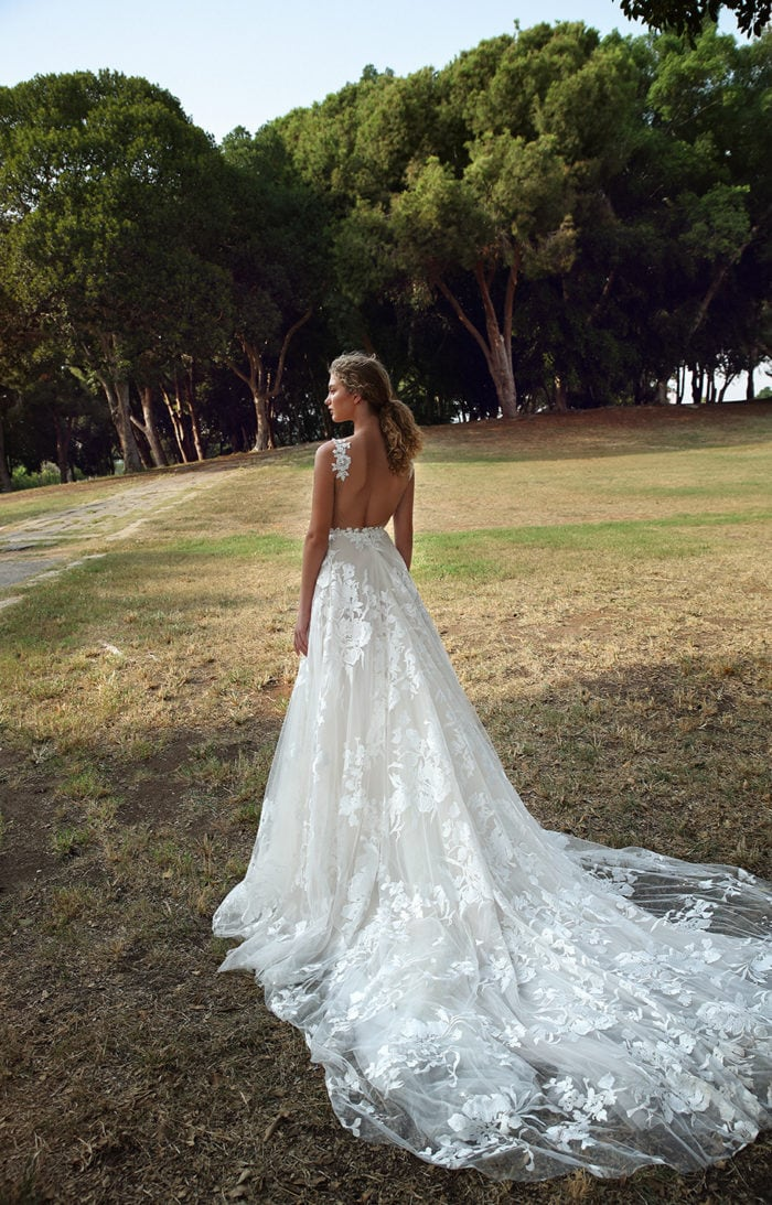 Embroidered tulle ballgown wedding dress
