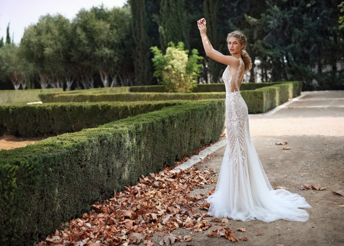 Geometric sheer bridal gown Style G 212