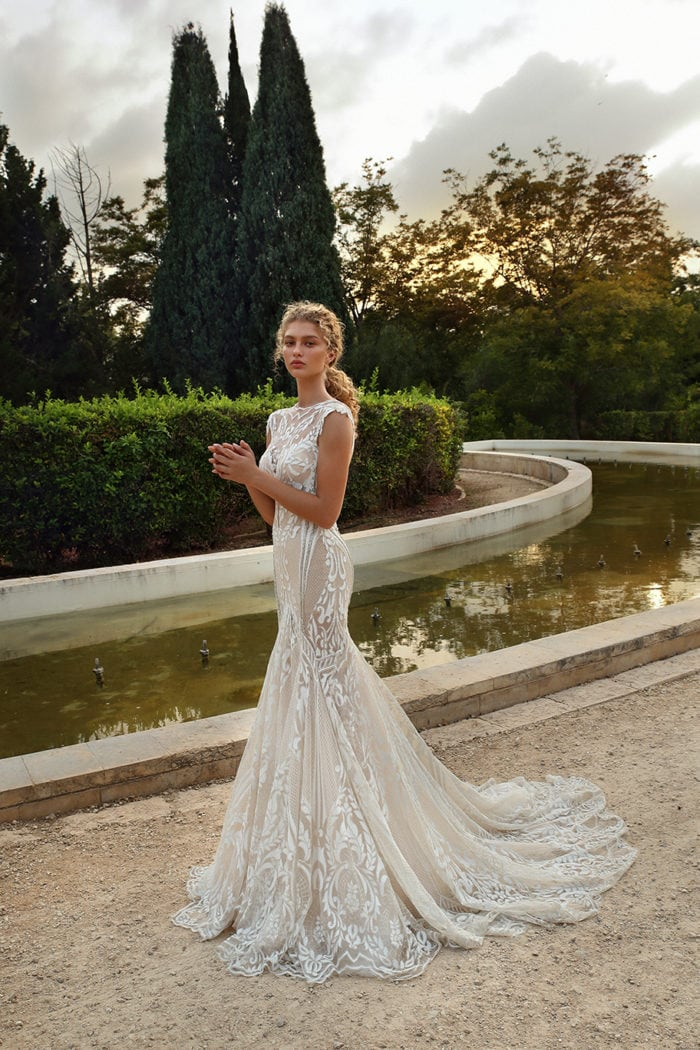Tulle mermaid wedding dress with cut outs and geometric patterns | Galia Lahav Gala Bridal