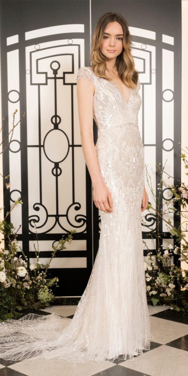 Beaded cap sleeve fitted wedding dress | Jackie by Jenny Packham