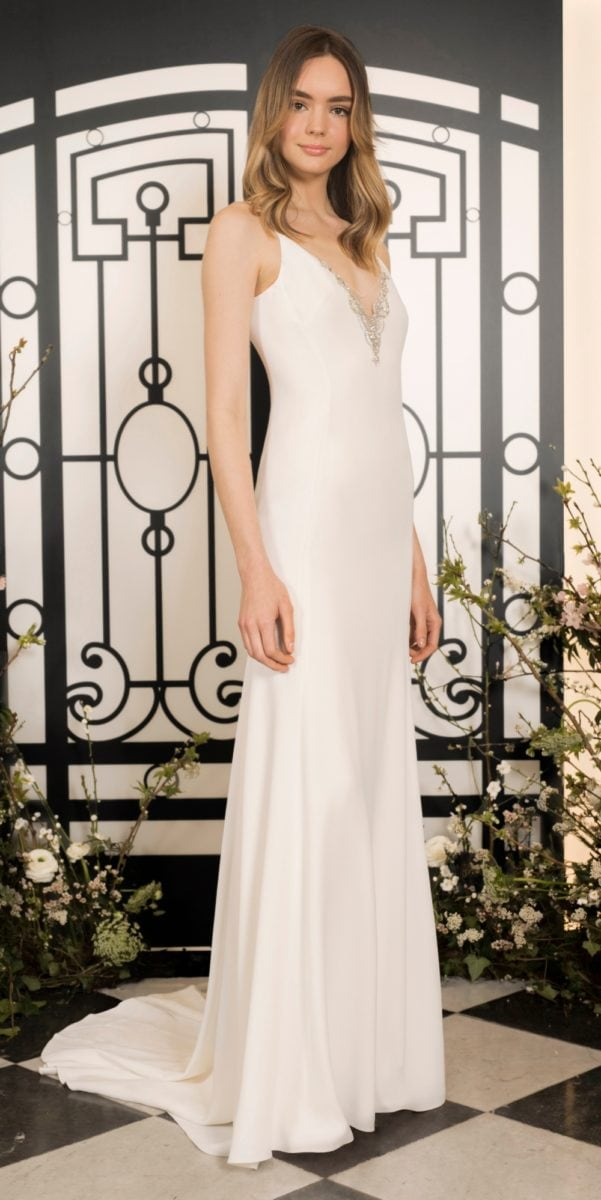Slim ivory v neck modern wedding dress | Larreta bridal gown by Jenny Packham